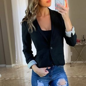 J. Crew 100% Wool Black Button Blazer 0